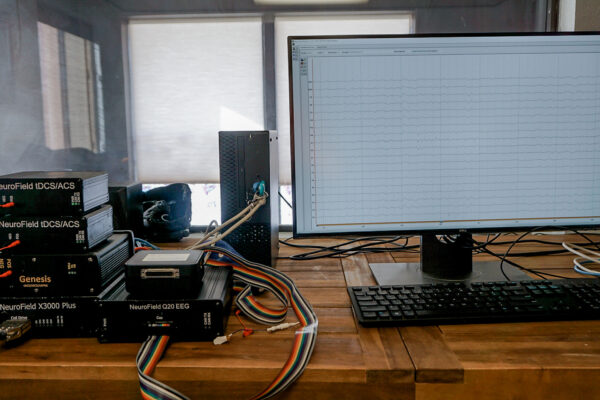 Equipment with brain map on screen