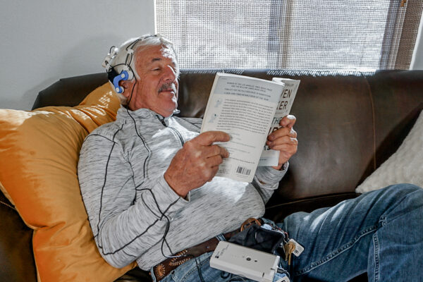 Neuro RX headset and reading a book
